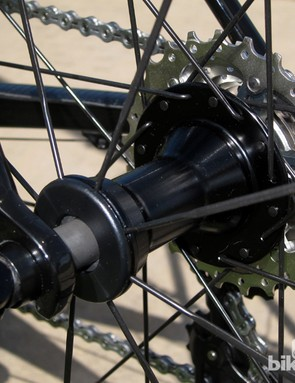The rear hub on Fulcrum's Racing 7 clinchers uses a two-to-one lacing pattern to help equalize the spoke tension