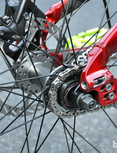 A bolt-on Specialized P-series, 135mm hub holds things together out back