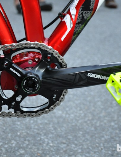 If a rear derailleur is added, there are ISCG-05 tabs on the bottom bracket and housing routing along the chainstay