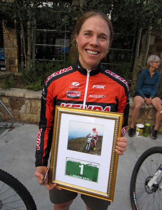 And for that win, she received this nifty framed photo of herself