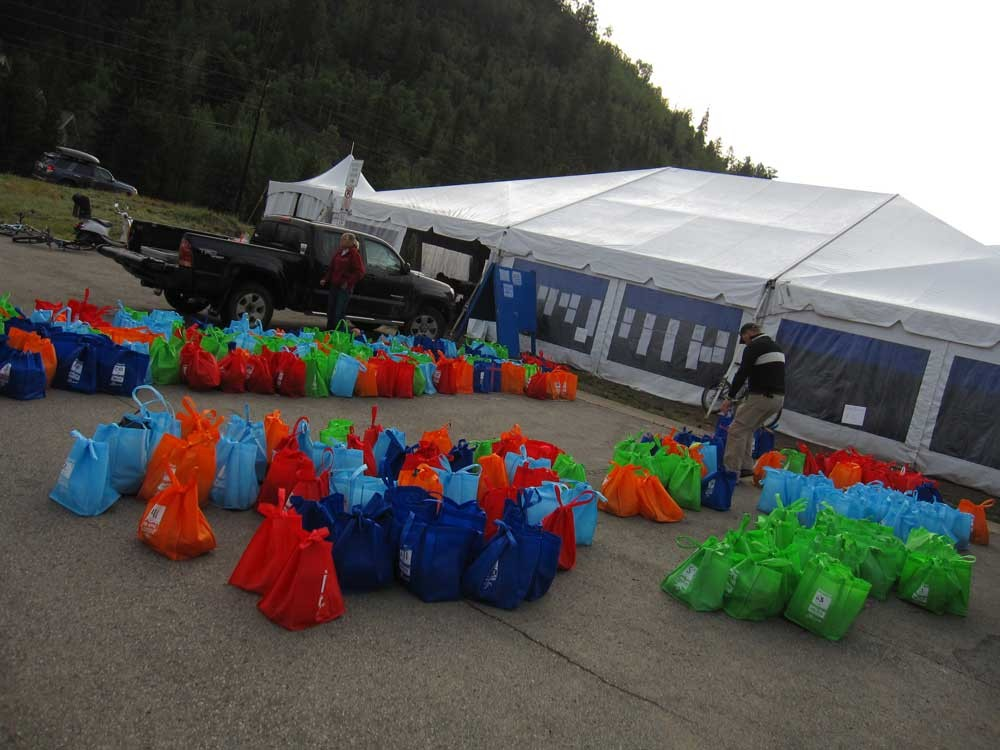 Gear bags had to be dropped off no less than an hour before each day's 8:30 a.m. start. Each was colored coded and marked with its owner's racer number, making it easy to find on the fly
