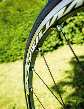 Mavic's heavily machined Ksyrium Elite wheels are a weight-saving bonus too