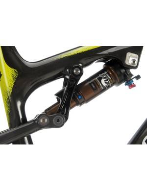 The new 2013 Rocky Mountain Altitude shifts to a top tube-mounted shock and link. Angular contact polymer bushings are used in the link pivots and the forward shock mount is repositionable for customizable handling and shock performance