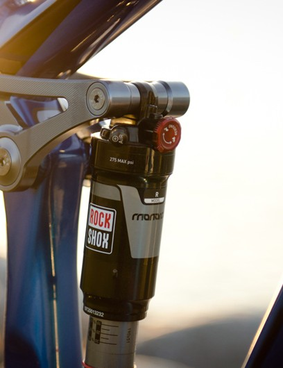 Rear wheel travel is limited to 100mm on the new Rocky Mountain Slayer SS courtesy of a RockShox Monarch R rear shock
