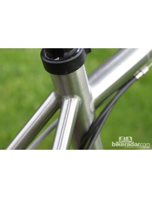 Neat welds and Joe Murray style dropped top tube are tidy