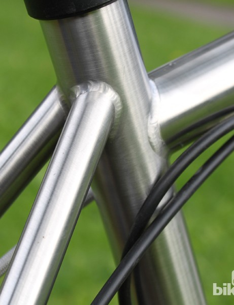 Seat tube cluster shows off classy welds and titanium-like lustre