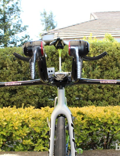 Nibali runs whisper-thin SRAM brake levers and no traditional handlebar tape for a svelte front end