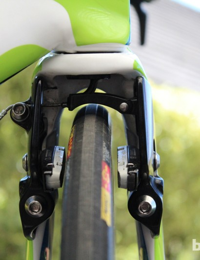 The horizontal-pull caliper is like a small version of an old school mountain bike V-brake