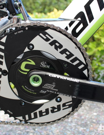 More than meets the eye: Here, a SRAM Force derailleur is marked SRAM Red, a steel spindle is used to add 400g to meet the UCI minimum weight limit, and the SRM power meter records and relays Nibali's world class wattage to the computer on his handlebars