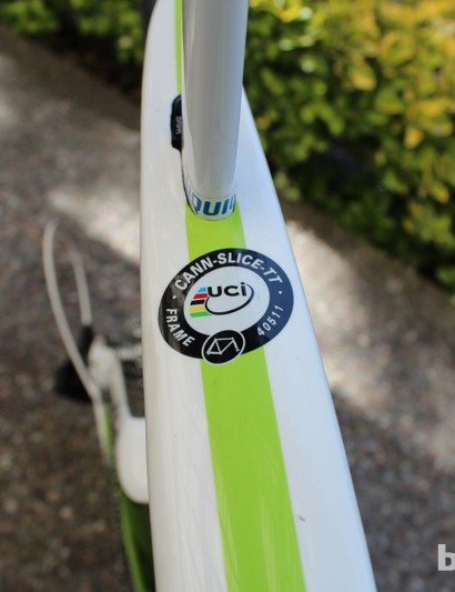 This is a more expensive sticker than you would think. All manufacturers must submit new frame designs to the UCI for approval - and pay for the UCI to process their request for race approval