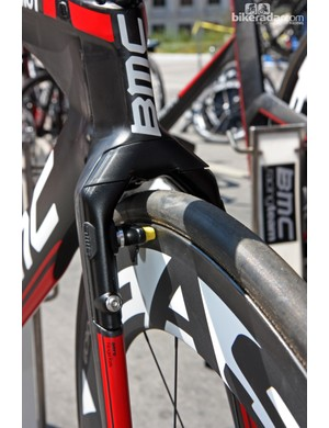 BMC's latest TimeMachine TM01 time trial bikes have front brakes built into the fork crown