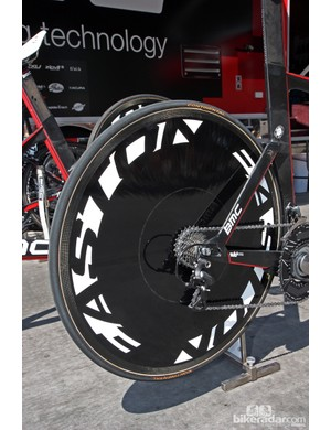 BMC wheel sponsor Easton doesn't make a disc wheel so Taylor Phinney's machine is equipped with a Lightweight disc