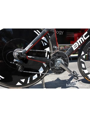 The logos on Taylor Phinney's (BMC) Rotor Q-Rings are covered up on his BMC TimeMachine TM01