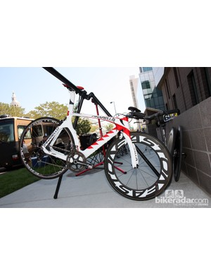 Bissell's speedy-looking Pinarello Graal time trial bike. Easton alloy clinchers were installed here for the pre-race warm-up but the team ran a mix of Zipp discs for the race