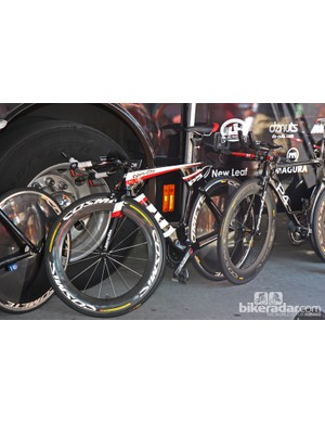 Garmin-Sharp's striking Cervélo P5 time trial bikes (with a bit of older P4 mixed in)