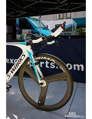 Astana riders ran three-spoke Corima carbon tubular wheels during the USA Pro Challenge time trial in Denver, Colorado