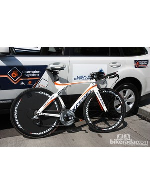 Champion System normally uses Fuji machines for the road but Kestrel ones for time trials. Both companies are owned by Advanced Sports, Inc