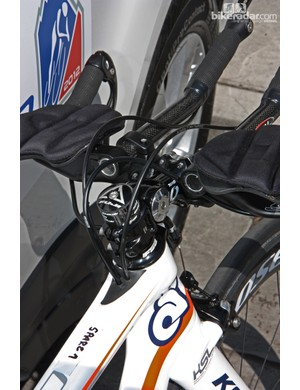 Cables are fed into the top tube of Champion System's Kestrel 4000 time trial bikes