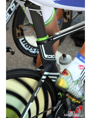 The ultra-clean seat cluster of Team Exergy's Felt DA time trial bikes