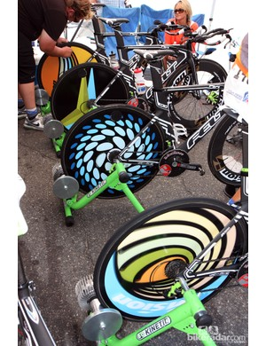 Team Exergy definitely wins the prize for most colorful disc wheels