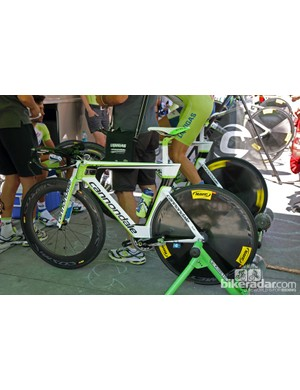 Liquigas-Cannondale's speedy Cannondale Slice RS time trial bike