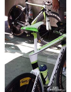 The tiny seatpost on Cannondale's latest Slice time trial bike looks a bit funny sprouting out of the bulky seat cluster but it's apparently fast in the wind tunnel