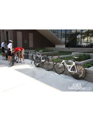 The RusVelo team had at least three different brands of bikes for Sunday's time trial