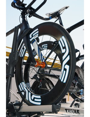 Enve Composites deep-section front wheels developed by Simon Smart were fitted to the front ends of UnitedHeathcare's time trial bikes