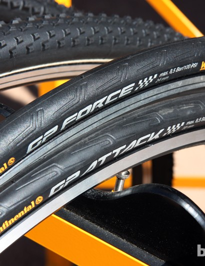 Continental's standard Force and Attack rear and front-specific road clinchers lose about 20g for 2013 through revised tread shaping. Claimed weight for the pair is now just 370g