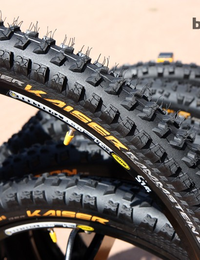 Continental aims the new Der Kaiser Rammstein at downhill racers looking for a little extra speed. Compared to the standard Der Kaiser, the Rammstein features pared-down center knobs that roll faster but wear quicker