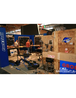 Of all the companies setting up their stands, Park Tool had the weakest excuse for being this untidy