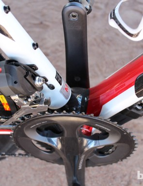 With Di2 options, the battery is attached almost out of sight on the down tube