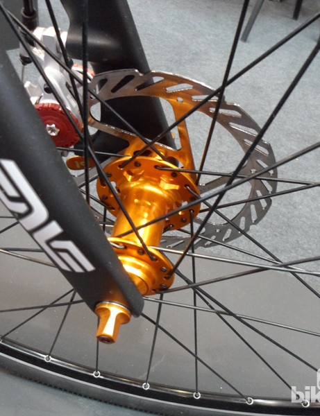 Salsa hubs on the Warbird's disc-specific road wheels