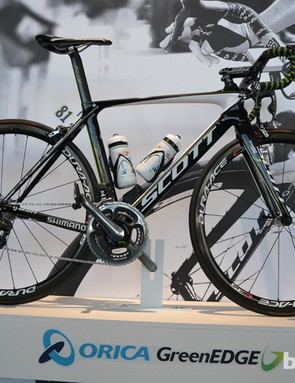 Orica-GreenEDGE racing team colours give away the Scott Foil's pedigree
