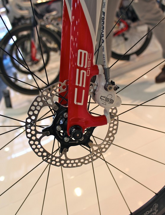 The Formula-made, Colnago-branded 140mm discs