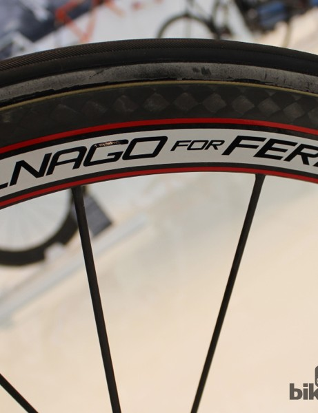 Ferrari branding on Mavic wheels