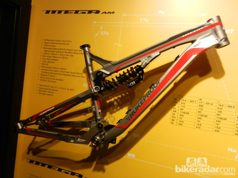 Nukeproof's new Mega AM frame – this, the all mountain version - has 160mm (6.3in) of travel at the reworked rear end