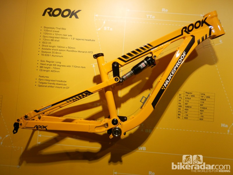 The burly new aluminium Rook offers 105mm (4.1in) of travel for slopestyle riders