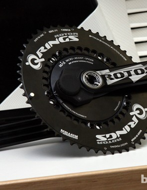 The new Rotor Power power meter will supposedly be available by the end of 2012. Claimed weight is just 556g for the arms, spindle, and spider
