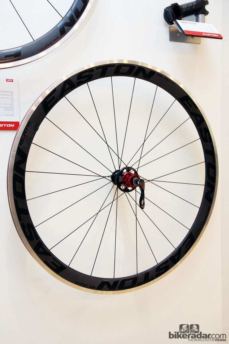The new Easton EC70 SL road wheels feature aluminum clincher rims with aerodynamic carbon caps