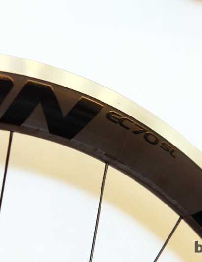 Easton says the ride quality on the new EC70 SL road wheels is deceptively smooth because the spokes are anchored in the carbon caps, not the underlying aluminum