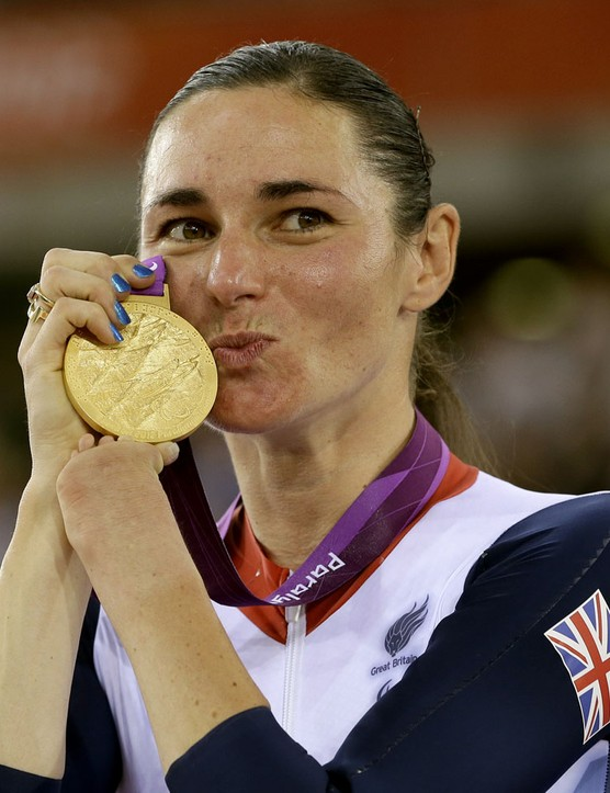 Sarah Storey of Britain poses with her gold medal for the Women's Individual C5 pursuit