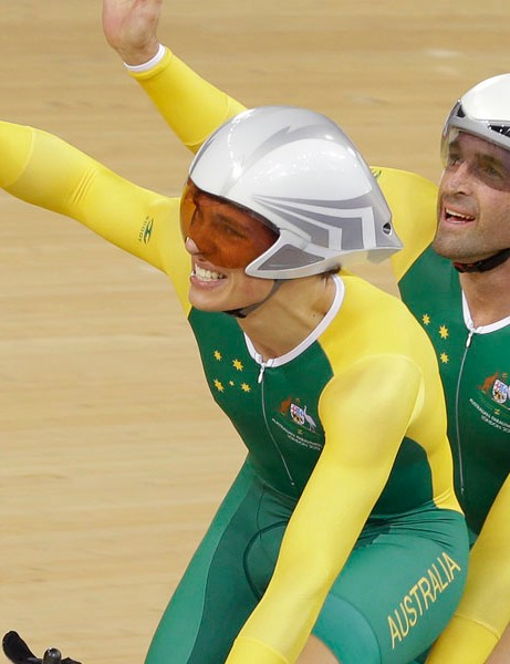 Scott McPee, left and partner Kieran Modra of Australia celebrate after winning the gold medal in the Men's Individual B Pursuit