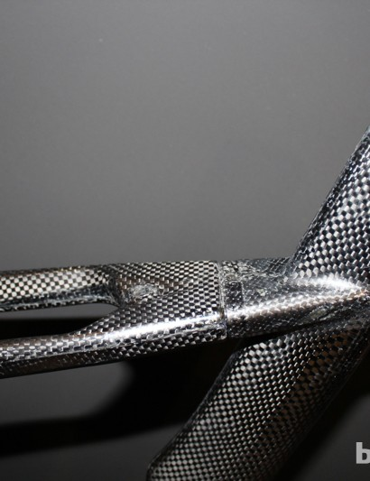The yoked seat stays are bonded into the front triangle behind the down tube