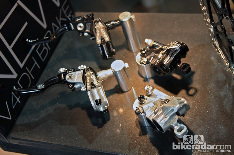 Hope's new flagship downhill brake is the V4, featuring a four-piston design with longer and bigger pads than the outgoing V2 for more stopping power.
