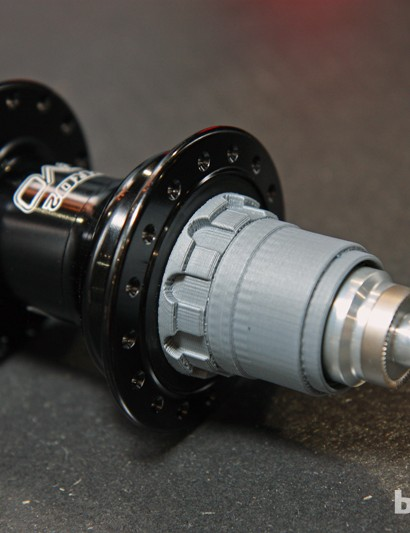 Hope will start production of its new SRAM XX1-compatible XD driver bodies immediately after Eurobike. The new machined aluminum bodies - this one is just a rapid prototype - will retrofit to current Pro 2 Evo and Pro 3 rear hubs.