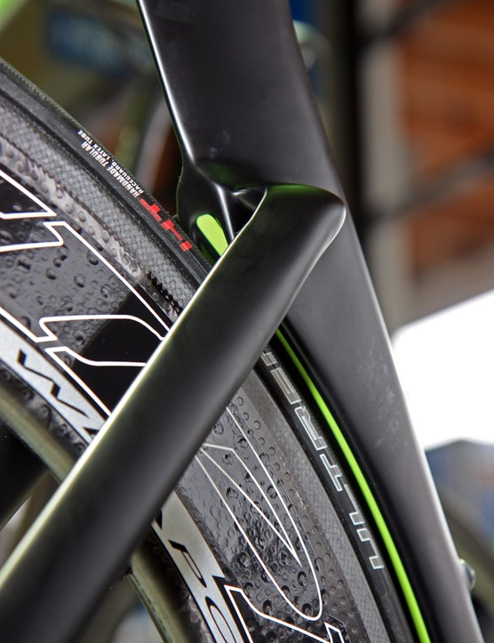 Cannondale built a channel down the inside of its 'Speed Shadow' rear wheel cutout to reduce air pressure build-up inside the otherwise narrow gap