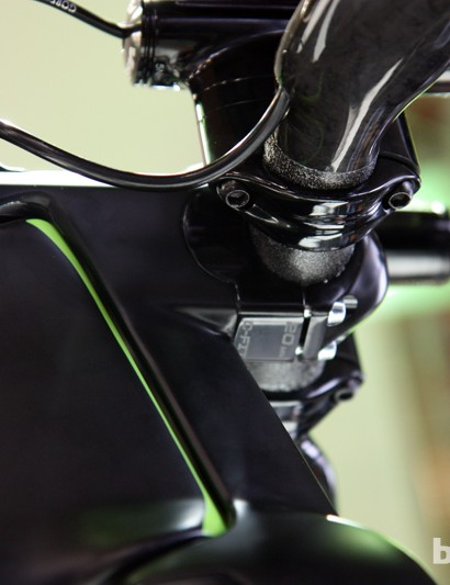 The stem length is effectively adjustable by inserting different blocks on Cannondale's new Slice RS time trial/triathlon bike