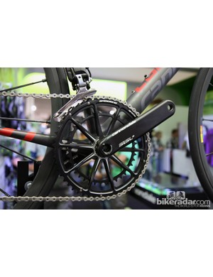 The new Cannondale Hollowgram SiSL2 crankset features the company's own one-piece machined aluminum double chainring that is claimed to be both lighter and stiffer than a conventional setup