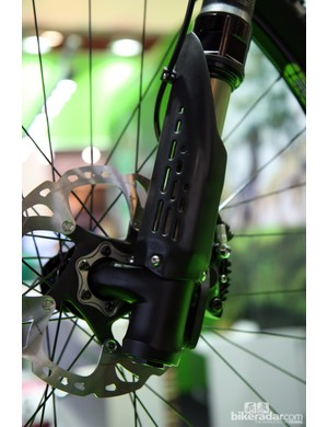 The more rearward leg placement on the Cannondale Trigger 29er's new SuperMax fork allowed for a wider hub shell - thus making for a stronger wheel that can take more abuse